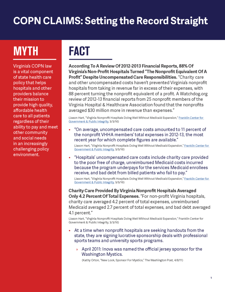 COPN CLAIMS: Setting the Record Straight – Myth vs Fact